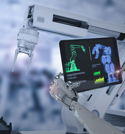 robotic arm displaying tablet