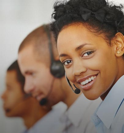Female contact center agent smiling