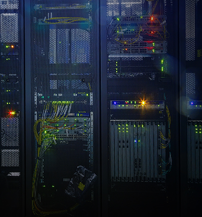 Servers in racks in a data center
