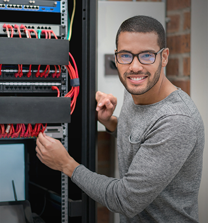 IT person in server room