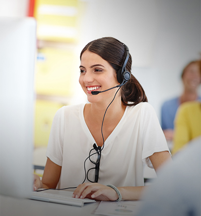 Woman in call center with headset