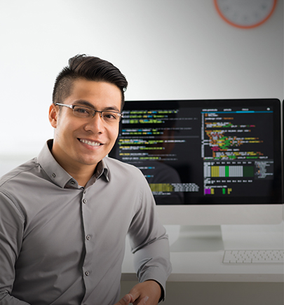 man with data on computer