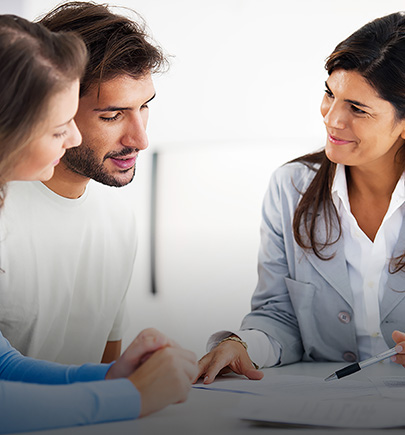 Advisor talking to couple