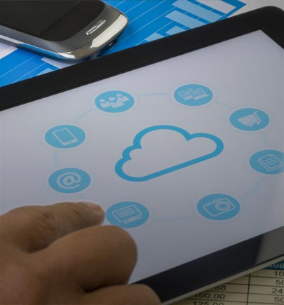 cloud graphic on tablet screen