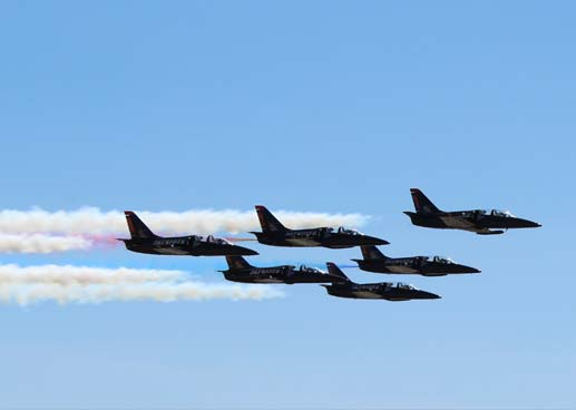 Fighter Planes Against Sky During Airshow