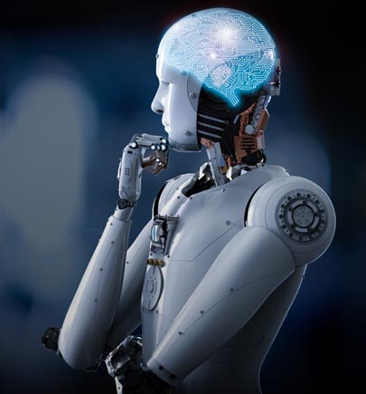 artificial intelligence - robot with enlightened brain