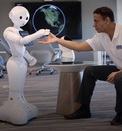 Man interacting with a robot