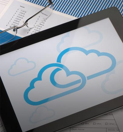 cloud icon on tablet closeup