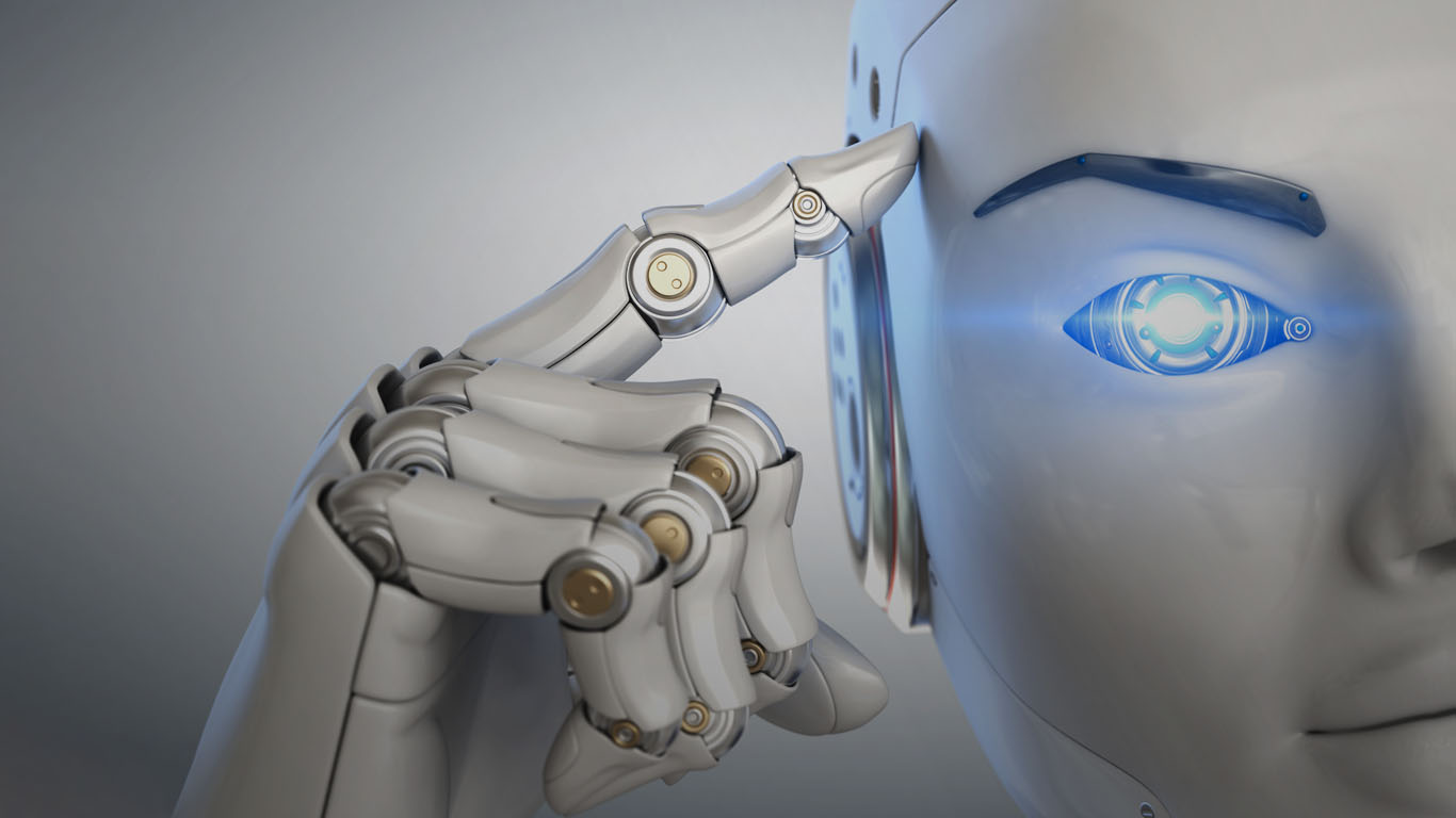 close up of robot with blue eye and finger pointing to its temple